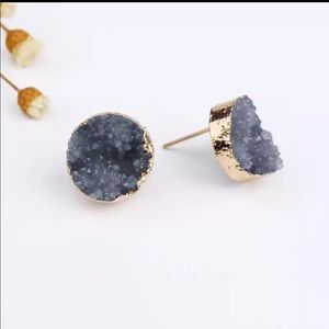 Grey Anthro round quartz druzy earrings